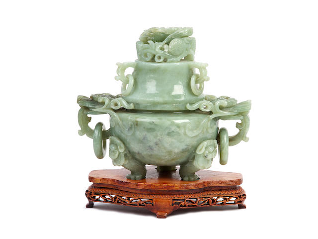 A Chinese jade large censer, cover and stand, 20th century