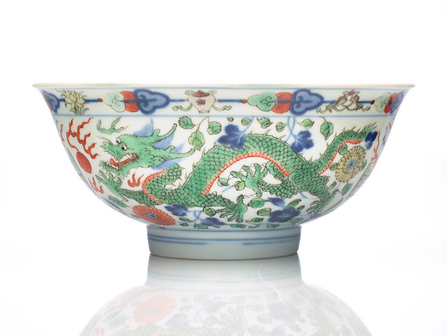 A Chinese doucai 'dragon and phoenix' bowl Qianglong six-character seal mark and of the period
