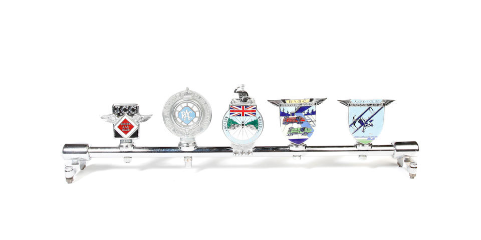 A good badge bar mounted with five enamel badges,
