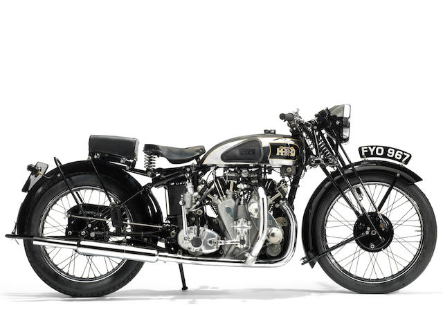 Single family ownership since 1959; seven-year restoration to concours standard,1939 Vincent-HRD 998cc Series-A Rapide