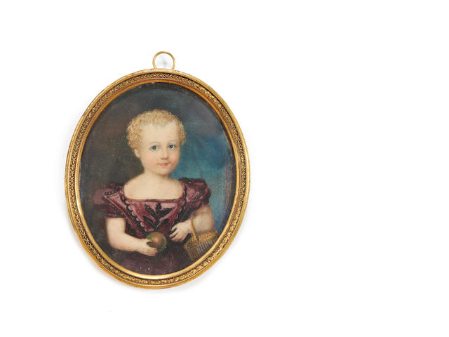 English School 18th. Century A portrait miniature of a Young Child, wearing burgundy dress and holding an apple and fruit basket (cracked)