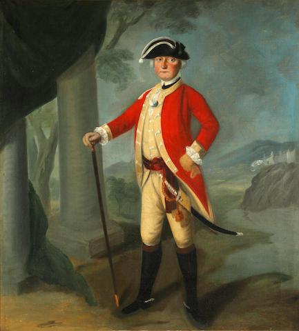 English School, 18th Century Portrait of a gentleman, full-length, in uniform, bearing a sword