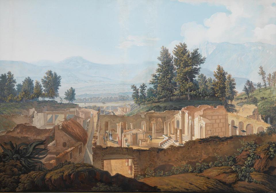 Saverio Xavier della Gatta (Naples 1777-1829) View of Vesuvius; and View at Portici a pair, gouaches