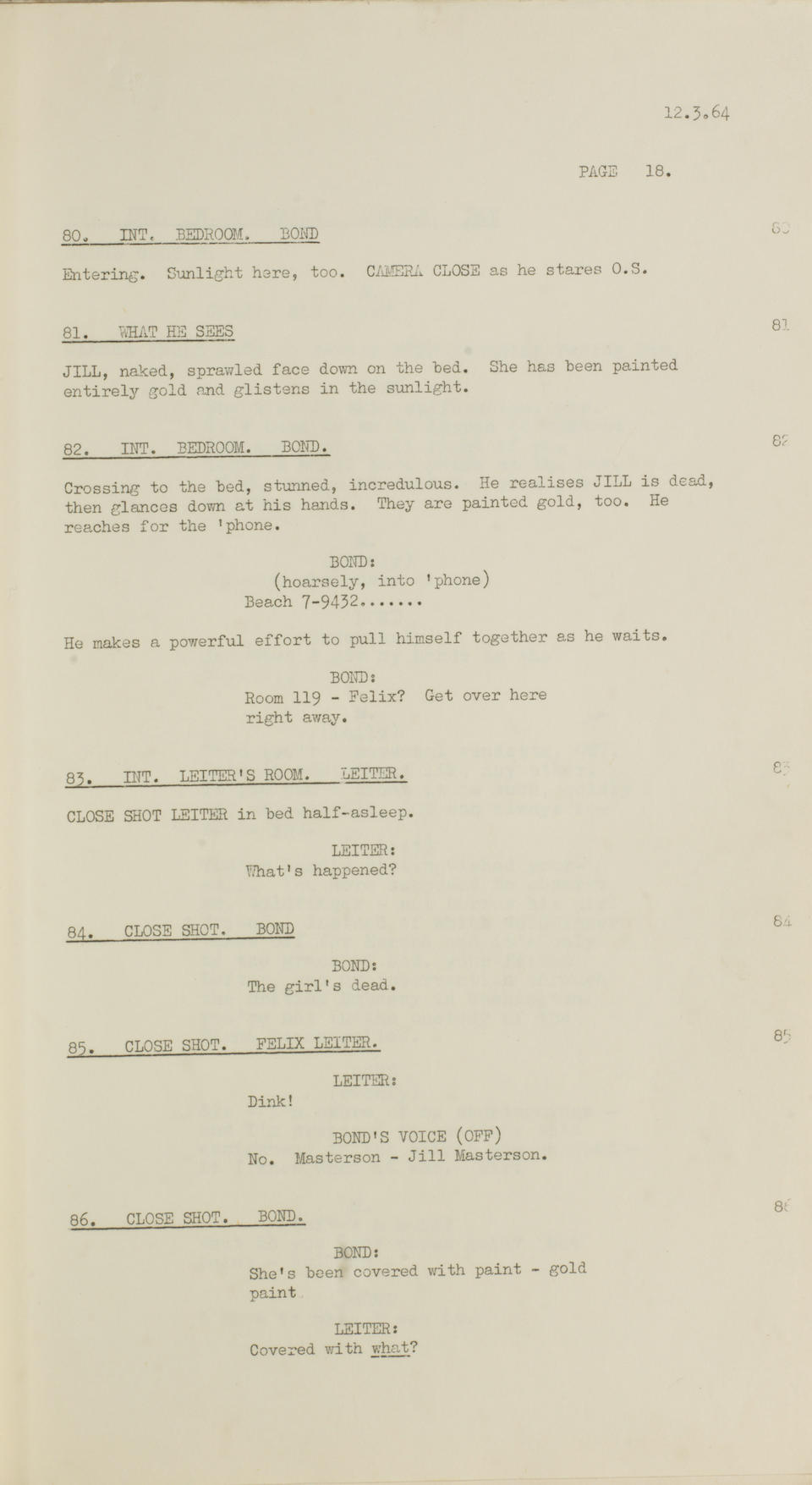 Goldfinger, 1964: A script, complete with Dope Sheets,