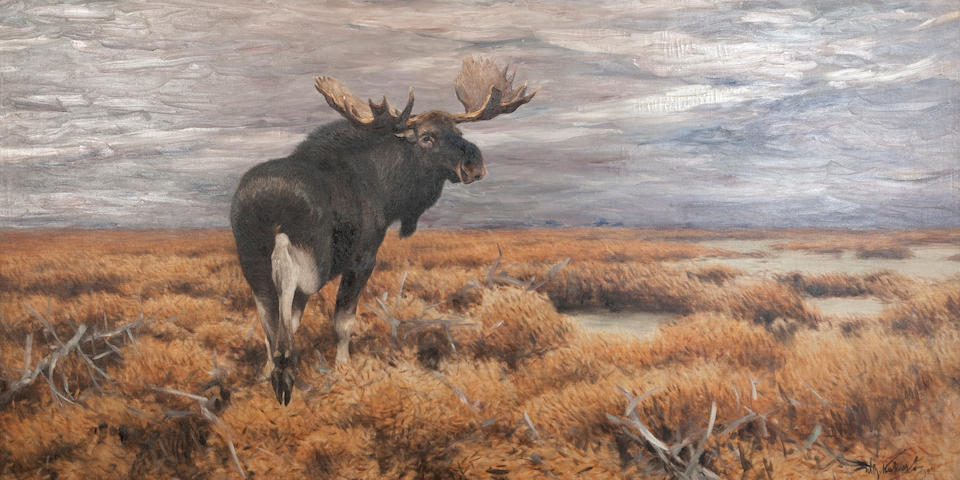 Wilhelm Friedrich Kuhnert (German, 1865-1926) Moose in the Swedish Highlands  141 x 285 cm. (55 1/2 x 112 3/16 in.)