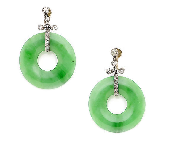 A pair of jade and diamond pendant earrings
