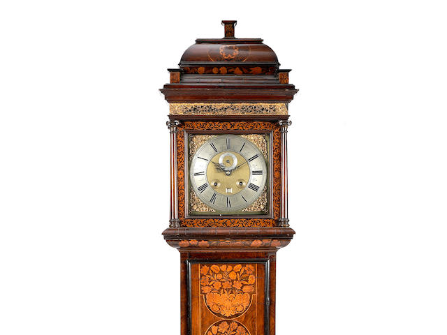 A rare late 17th century Scottish walnut and marquetry longcase clock of one month duration Andrew Broun, Edinburgh