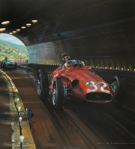 Nicholas Watts (British, 1947-), 'Fangio and Maserati at Monaco 1957'