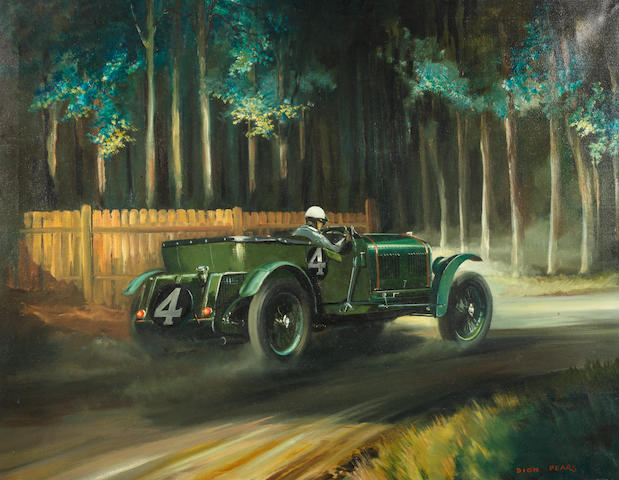 """Dion Pears (British, 1929-1985), 'Bentley """"Old Number One"""" at Le Mans 1930',"""