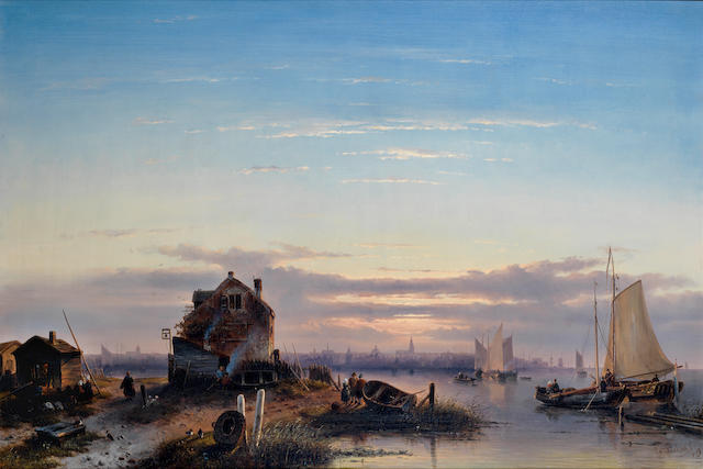 Charles Leickert (Dutch, 1816-1907) View on the Ij with Amsterdam in the background