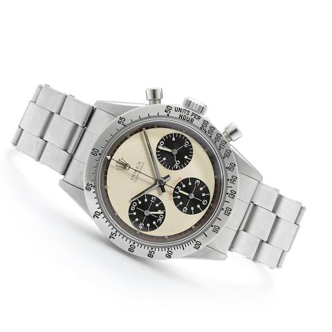 Rolex. A very fine and rare stainless steel manual wind chronograph bracelet watch Cosmograph Daytona 'Paul Newman', Ref:6239, Serial No.178****, Circa 1968
