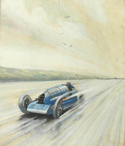 Roy Nockolds (British, 1911-1979), 'Napier-Campbell Bluebird 1927',
