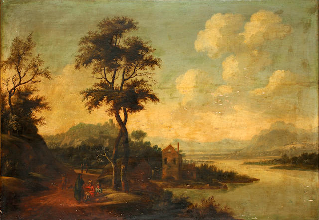 Dutch School, 18th Century Figures resting on the river bank