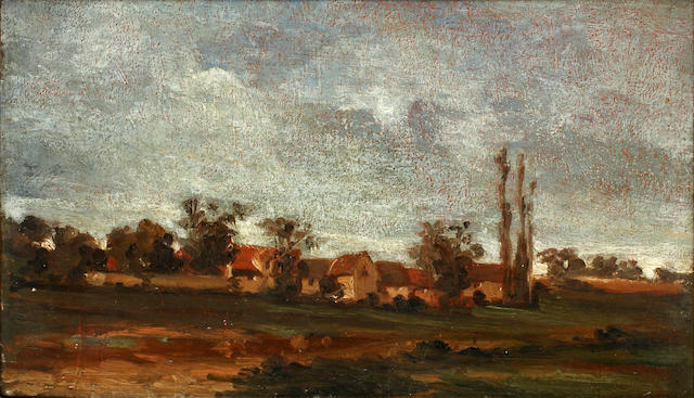 Follower of John Constable R.A. (Suffolk 1776-1837 Hampstead) A view of the outskirts of a village, possibly Leavenheath, Essex