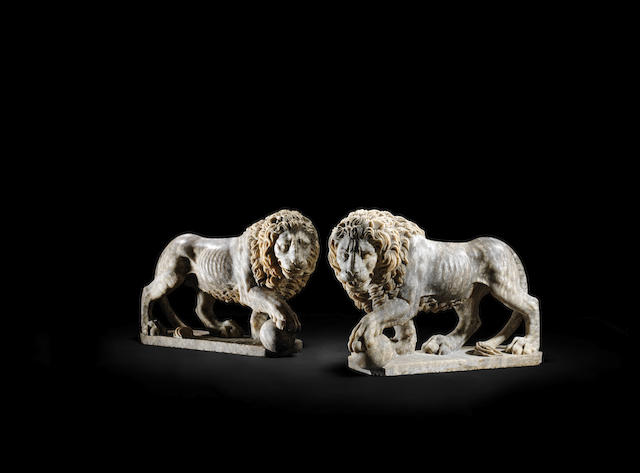 A pair of large Italian early 19th century marble Medici Lions after Flaminio Vacca