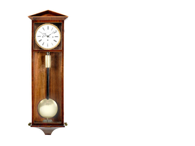 A first half of the 19th century grand sonnerie striking and repeating boxwood-strung rosewood Vienna wall clock Leonard Muller in Josefstadt