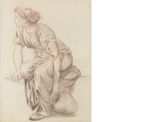 Sir Edward Coley Burne-Jones, Bt., ARA, RWS (British, 1833-1898) A seated woman with a pitcher