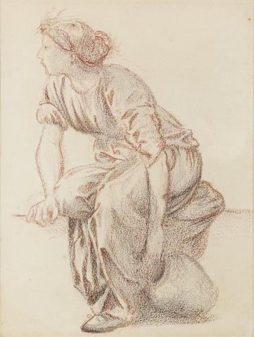 Sir Edward Coley Burne-Jones, Bt., ARA, RWS (British, 1833-1898) A seated woman with a pitcher