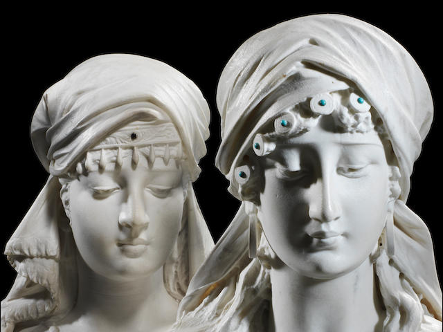 "Emile Coriolan Hippolyte Guillemin (1841-1907) a pair of white marble busts of Oriental ladies, possibly ""Sulamita"""
