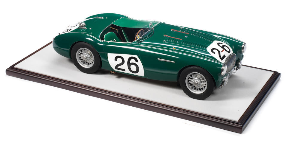 A fine scratchbuilt 1:8 scale model of the 1955 Le Mans Works Austin Healey 100S 'NOJ 393', by John Shinton of the Healey Toy Factory,