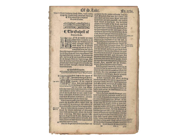 "BIBLE, in English, ""Great Bible"" version [The Bible in Englyshe of the largest and greatest volume that is to saye: the contentes of all the holye Scripture, booth of the oulde and newe Testament], [Rouen, Richard Carmarden, 1566], sold not subject to return"