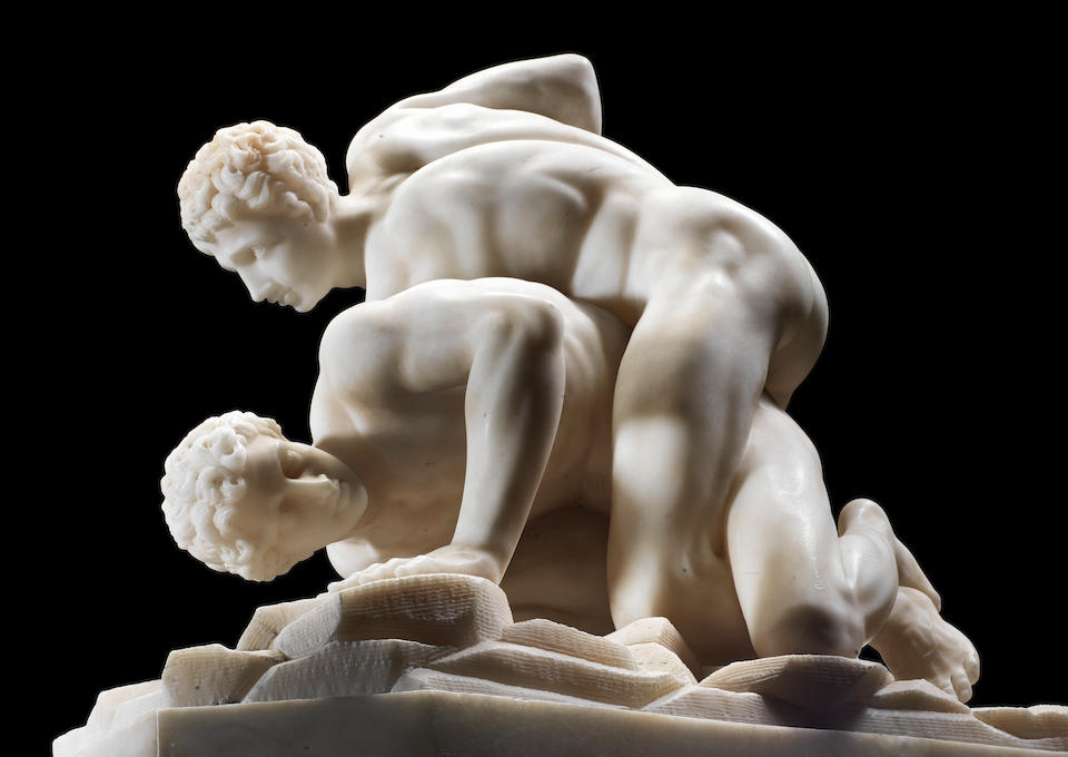 """An Italian 19th century alabaster group of """"The Wrestlers"""""""