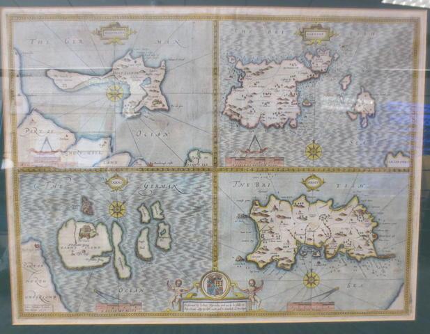 BRITISH ISLES - SPEED (JOHN) 'Holy Iland'; 'Garnsey'; 'Farne'; 'Jarsey', [1627]--ORTELIUS (ABRAHAM) Britannicarum Insularum typus, 1595 [1607] (2)