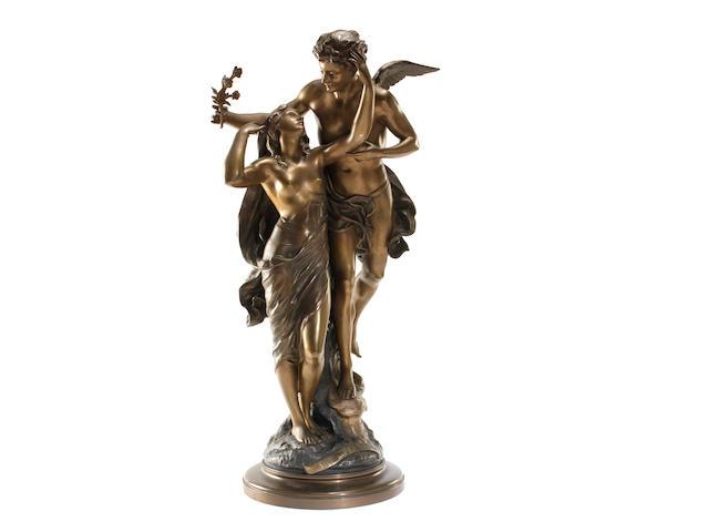 Emile Louis Picault (French, 1833-1915): A bronze figural group Reveil de la Nature