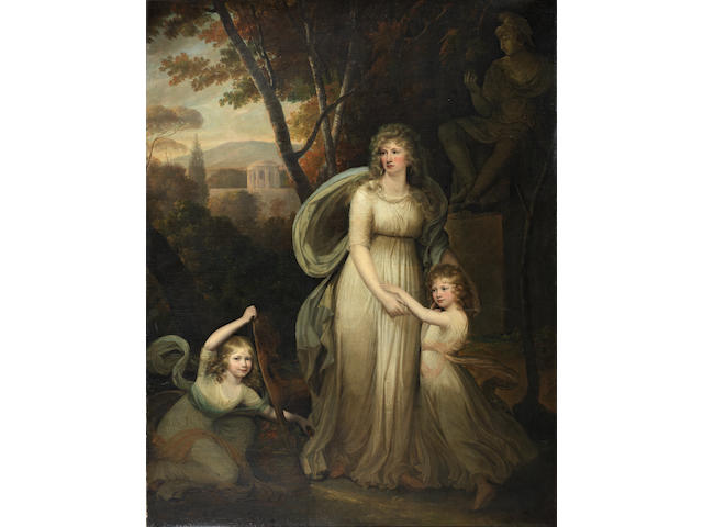 Circle of Robert Fagan (Cork circa 1745-1816) Portrait of a lady, with two children, possibly members of the Lichtenau family, full-length, in a classical landscape