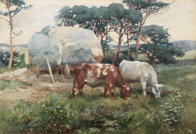 Sir Alfred James Munnings, PRA, RWS (British, 1878-1959) Cattle grazing before hay waggons in a landscape