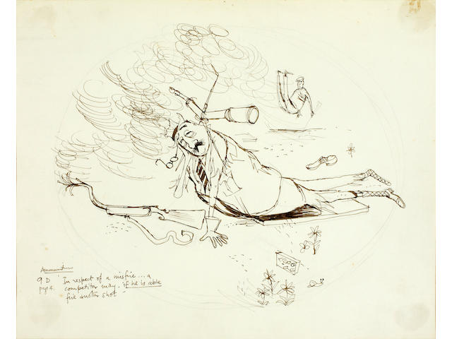 Ronald Searle (British, 1920-2011) 'Amunition'; and 'Scoring' and 20 x 26.6cm (7 7/8 x 10 5/8in) (2)