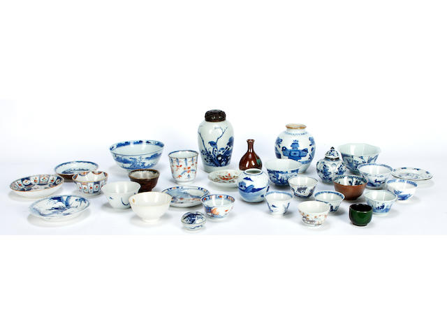 A small collection of blue and white porcelain