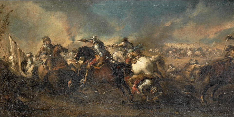 Pandolfo Reschi (Danzig 1643-1699 Florence) A cavalry skirmish before a montainous landscape; and A cavalry skirmish with a town in the distance  (2)