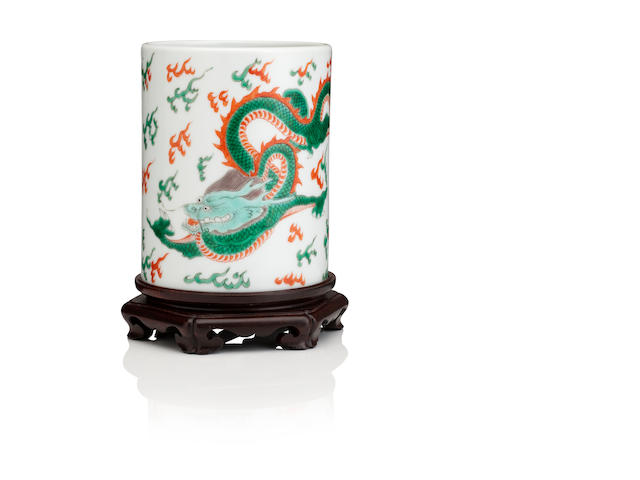 A fine famille verte brushpot, bitong 18th century
