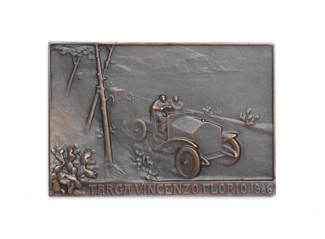 A fine 'Targa Vincenzo Florio 1906' bronze competitor's plaque, by Rene Lalique,
