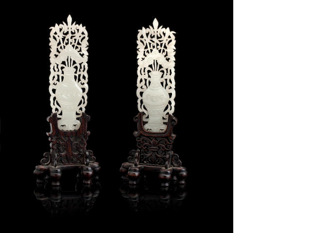A pair of miniature jade table screens Circa 1900