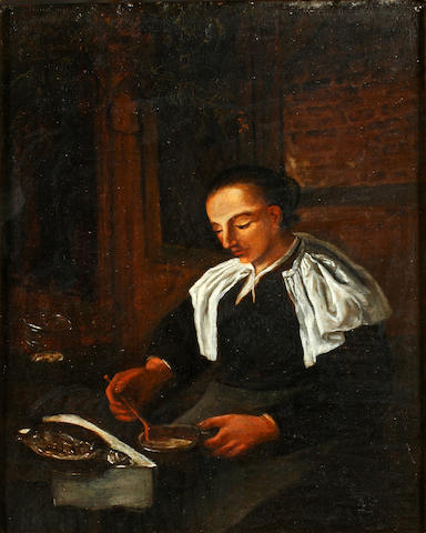 Dutch School, 18th Century A kitchen maid 26cm x 22cm.