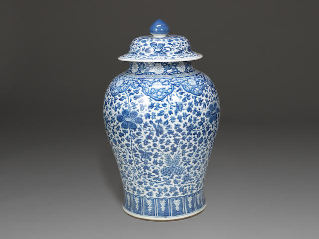 A massive blue and white baluster jar and cover Kangxi