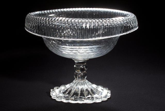 An Irish cut glass oval fruit bowl, early 19th century