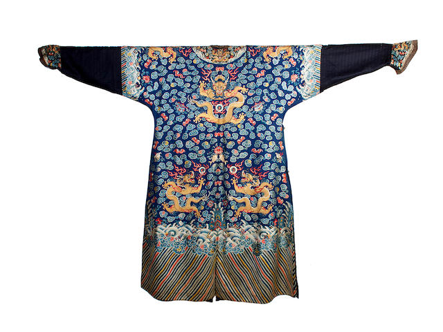 A Chinese embroidered dragon robe or chi-fu, 19th century