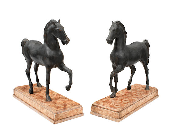 A pair of bronze models of the horses of St Marks