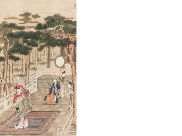 Three paintings   18th century, after Qiu Ying (ca.1495-1552)