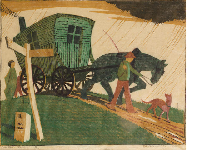 Ethel Spowers (Australian, 1890-1947) The Rain Cloud Linocut printed in yellow ochre, viridian, black and mauve, 1931, on buff oriental laid tissue, signed, titled, dated and numbered 8/30 in pencil, with margins, 207 x 266mm (8 1/8 x 10 1/2in)(B)