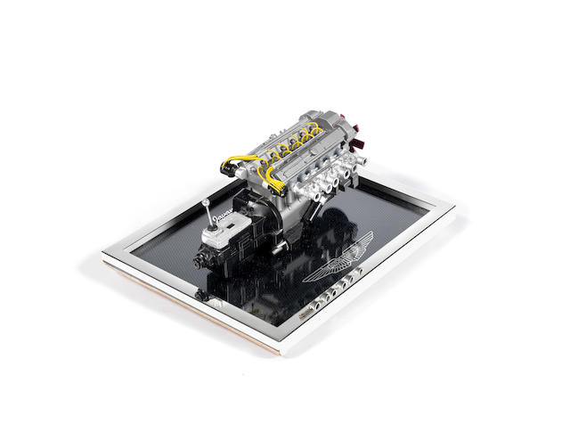 A 1:8 scale scratchbuilt model of an Aston Martin DB4 GT engine and gearbox, by Javan Smith,