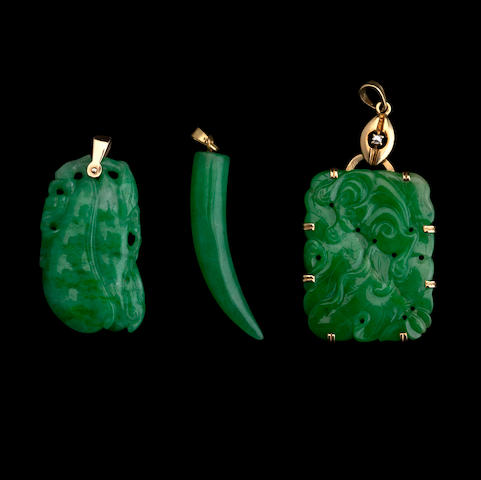 Three jadeite pendants