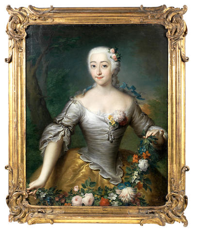 Georg Christoph Grooth (Stuttgart 1716-1749 St. Petersburg) Portrait of a lady, half-length, in a white and gold dress, holding a garland of flowers