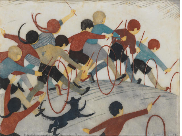 Ethel Spowers (Australian, 1890-1947) Children's Hoops Linocut printed in yellow ochre, grey, reddish brown, viridian and black, 1936, an early richly inked impression, on buff oriental laid tissue, signed, titled, dated and numbered 2/50 in pencil, with margins, 198 x 262mm (7 3/4 x 10 3/8in)(B)