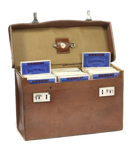 An Edwardian leather-cased set of Bartholomew's road maps for England & Wales,