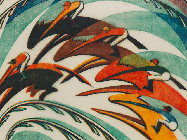 Sybil Andrews CPE (British/Canadian, 1898-1992) Racing Linocut printed in Chinese orange, spectrum red, viridian and Chinese blue, 1934, an early richly inked impression, on buff oriental laid tissue, signed, titled and numbered 21/60 in pencil, additionally signed and titled in blue ink on the front mount, with margins, 260 x 343mm (10 1/4 x 13 1/2in) (B)