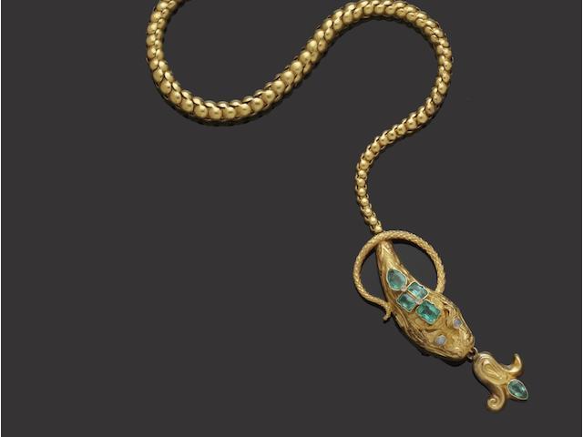 A Victorian gold emerald set serpent necklace